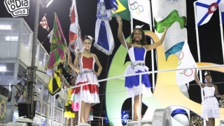 Abertura dos Desfiles na Sapucaí, com a banda da Guarda Municipal e a Corte Momesca